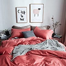 Hotel-Solid-Design-Luxury-Duvet-Cover-Set-Full-Queen-Size-with-Buttons-Coral Coral Bedding Sets and Comforters