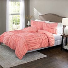 King-Size-Basketweave-Ruched-Bedding-Comforter-Cover-Set-Coral-Freesia Coral Decor