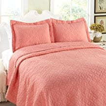 Laura-Ashley-Full-Queen-Coral-Quilt-Set Coral Bedding Sets and Comforters