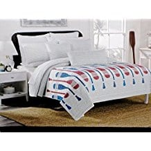 MAX-STUDIO-Paddle-Stripe-3PC-QUEEN-QUILT-SET Nautical Quilts and Beach Quilts