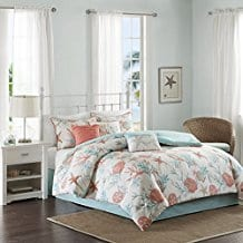 Madison-Park-Pebble-Beach-7-Piece-Cotton-Comforter-Set-Coral-Teal Coral Bedding Sets and Comforters