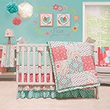 Mila-Coral-and-Blue-Floral-Patchwork-4-Piece-Baby-Girl-Crib-Bedding Beach and Nautical Crib Bedding