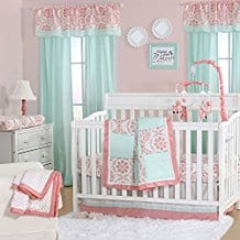 Mint-Green-and-Coral-Patchwork-3-Piece-Baby-Crib-Bedding-Set Coral Bedding Sets and Comforters