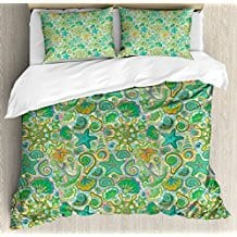 Nautical-Decor-Queen-Size-Duvet-Cover-Set-by-Ambesonne-Cute-Undersea-Animals-Maritime-Colorful Seashell Bedding and Comforter Sets