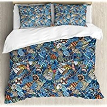 Nautical-Decor-Queen-Size-Duvet-Cover-Set-by-Ambesonne Seashell Bedding and Comforter Sets