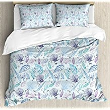Nautical-King-Size-Duvet-Cover-Set-by-Ambesonne-Various-Sea-Shell-Pattern- Seashell Bedding and Comforter Sets