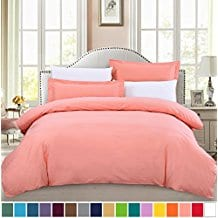 SUSYBAO-100-Cotton-3-Pieces-Coral-Duvet-Cover-Set Coral Bedding Sets and Comforters