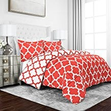 Sleep-Restoration-Luxury-Goose-Down-Alternative-Reversible-Quatrefoil-Comforter Coral Bedding Sets and Comforters
