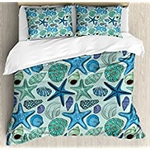Starfish-Decor-Queen-Size-Duvet-Cover-Set Seashell Bedding and Comforter Sets