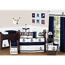 Sweet-Jojo-Designs-Anchors-Away-Nautical-Navy-and-White-Boys-Baby-Bedding Beach and Nautical Crib Bedding