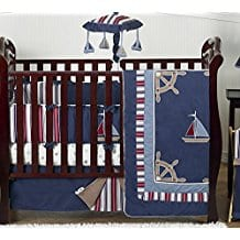 Sweet-Jojo-Designs-Nautical-Nights-Blue-and-White-Sailboat Beach and Nautical Crib Bedding