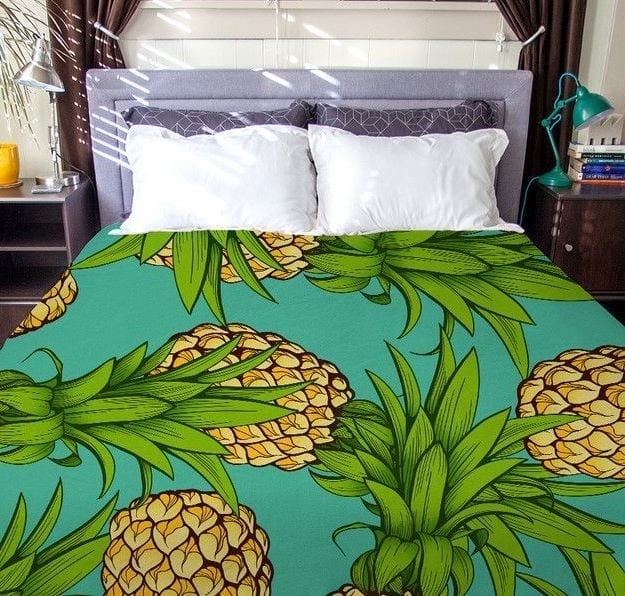 crazy-pineapples-duvet-cover Pineapple Bedding Sets and Duvet Covers