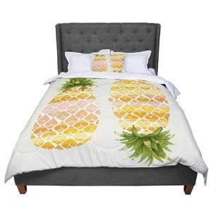 judith-loske-happy-pineapples-comforter-set Pineapple Bedding Sets and Duvet Covers