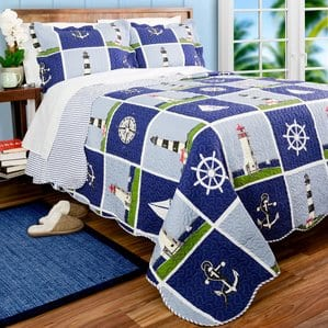 lighthouse-quilt-set-nautical-themed Nautical Quilts and Beach Quilts