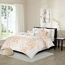 madison-park-cecelia-6-piece-coral-duvet-cover-set Coral Bedding Sets and Comforters