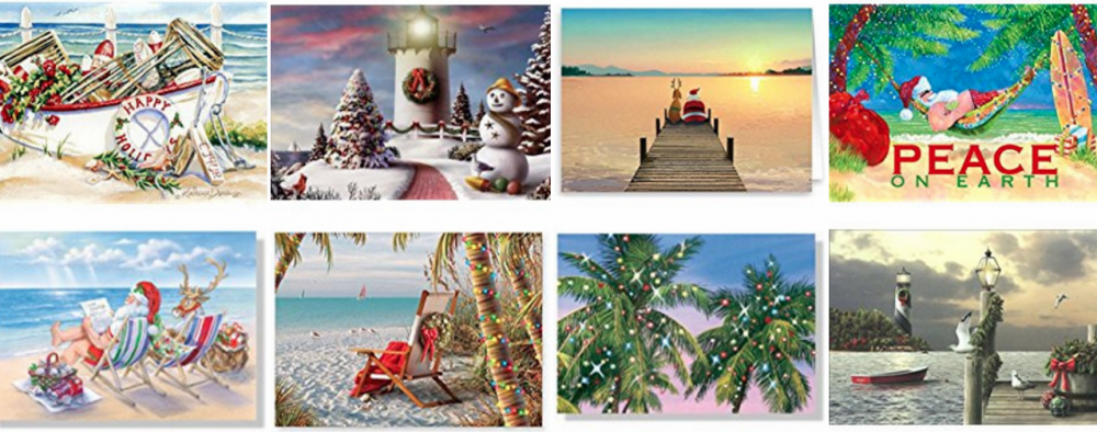 nautical beach christmas cards