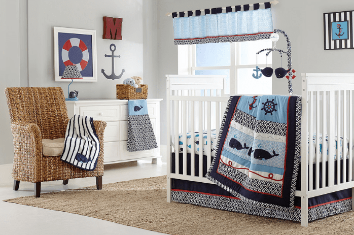 nautical-nursery-anchors-whales-life-preserver Beach and Nautical Crib Bedding