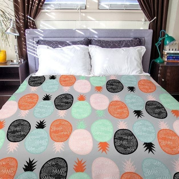 pineapple-gret-colorful-vibrant-duvet-cover Pineapple Bedding Sets and Duvet Covers