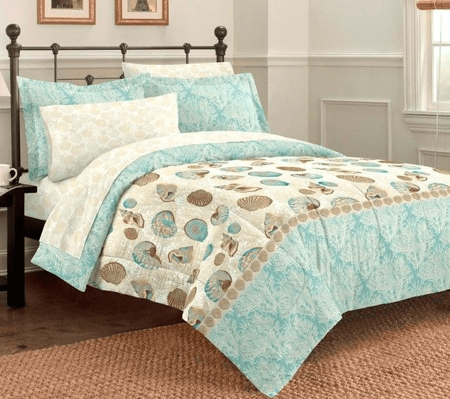 and decor white seashell pin pinterest comforter bedrooms blue