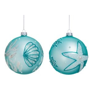 2PieceCoastalIconsGlassBallOrnamentSet Amazing Starfish Christmas Ornaments