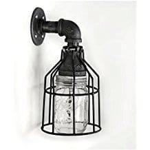 Industrial-Wall-Sconce-Pipe-Lighting-w-Mason-Jar Beach And Nautical Bathroom Lighting