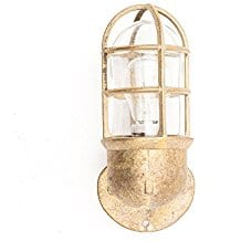 brass-finish-industrial-cage-nautical-bathroom-lighting Beach And Nautical Bathroom Lighting