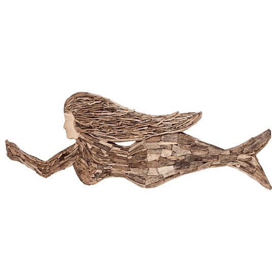 Driftwood-Mermaid-with-Hair-Wall-Décor Mermaid Home Decor