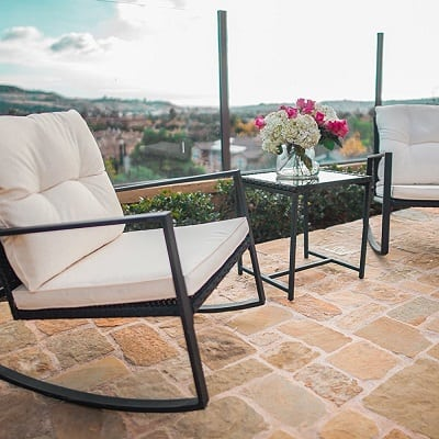 black-wicker-rocking-chairs-with-cushion Best White Wicker Furniture