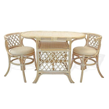 Borneo Compact White Wicker Top Table Set Best White Wicker