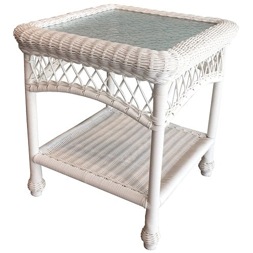 Glass Top Outdoor Wicker White End Table Best White Wicker
