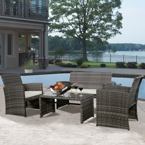 goplus-4-pc-rattan-wicker-furniture-set Best Outdoor Wicker Patio Furniture