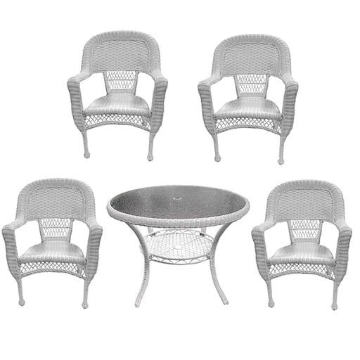 lb-international-5-piece-white-resin-wicker-dining-set Best White Wicker Furniture