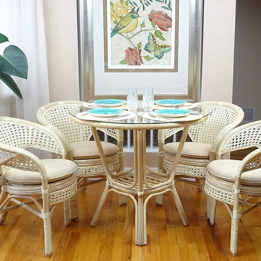 Pelangi Rattan Wicker Dining Set Table Glass Best White Wicker
