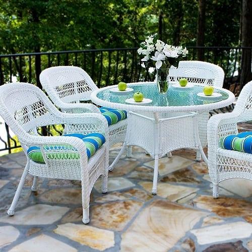 portside-5-piece-outdoor-white-wicker-dining-set Best White Wicker Furniture
