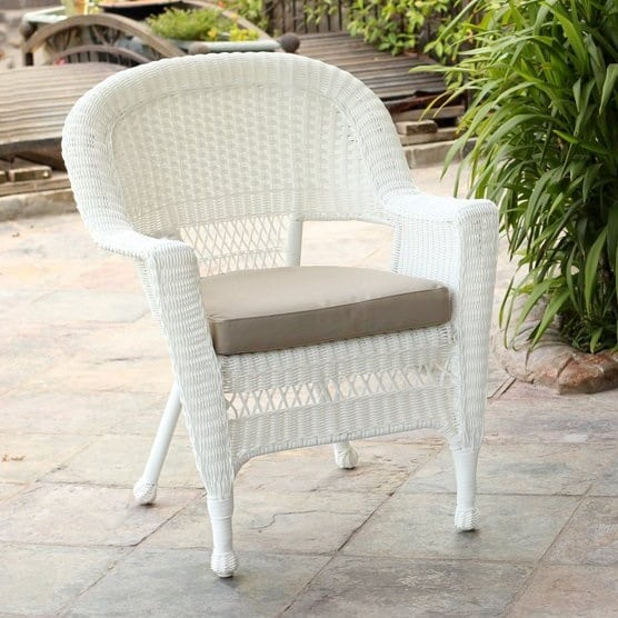 wicker-white-chair-with-cushion-set-of-2 Best White Wicker Furniture