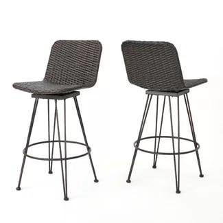 wrought-studio-prevost-outdoor-wicker-bar-stool-set-of-2 Best Wicker Bar Stools