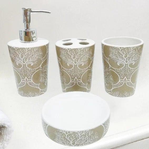 coral-bathroom-accessory-set Beautiful Coral Decor