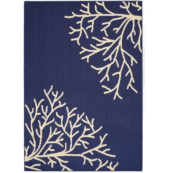navy-white-coral-area-rug Coral Decor