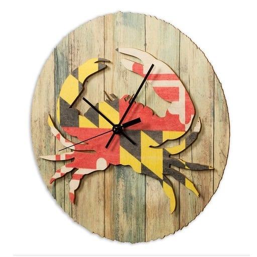 baltic-birch-maryland-flag-crab-clock Crab Decor & Crab Decorations