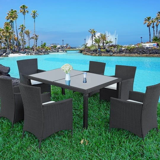 black-dining-set-with-wicker-material Best Black Wicker Furniture
