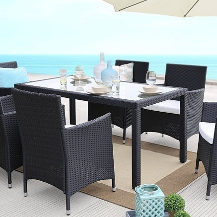 black-wicker-dining-set-7-piece Best Black Wicker Furniture
