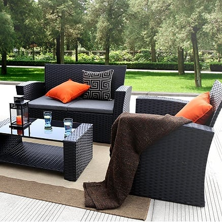 black-wicker-sofa-set Best Black Wicker Furniture