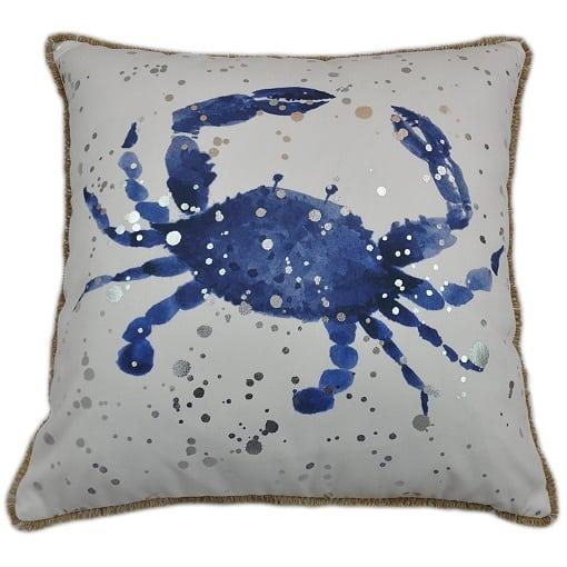 blue-crab-white-brown-trim-pillow Crab Decor & Crab Decorations