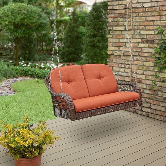 brown-wicker-loveseat-porch-swing Wicker Swings and Wicker Porch Swings