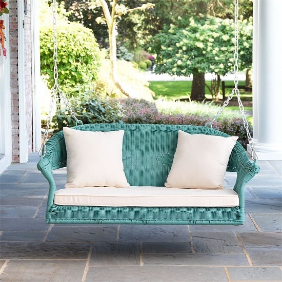 haze-wicker-porch-swing-brylane-home Wicker Swings and Wicker Porch Swings