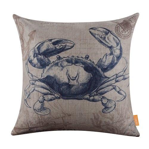 marine-blue-crab-burlap-throw-pillow Crab Decor & Crab Decorations