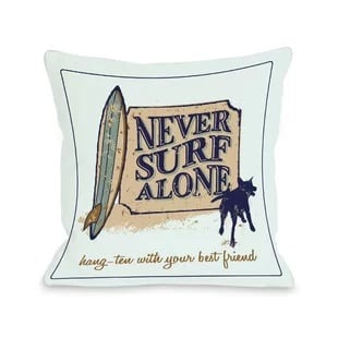 never-surf-alone-throw-pillow Surf Decor & Surfboard Decorations