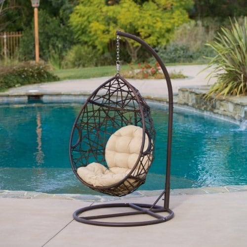 outdoor-brown-wicker-tear-drop-hanging-chair Wicker Swings and Wicker Porch Swings