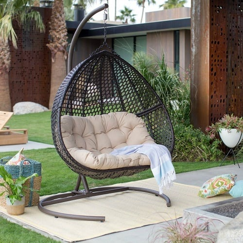 resin-wicker-hanging-egg-chair-loveseat Wicker Swings and Wicker Porch Swings