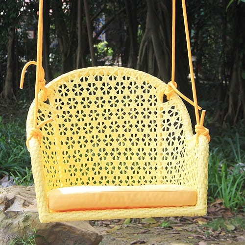 set-of-2-yellow-wicker-porch-chair-swings Wicker Swings and Wicker Porch Swings